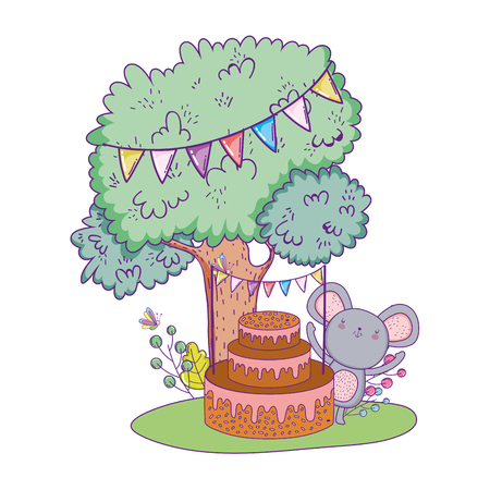 mouse with sweet cake in the field vector illustration design