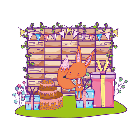 cute and little fox with sweet cake vector illustration design 向量圖像