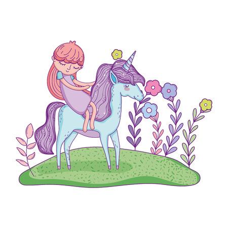 beautiful little unicorn with princess in the landscape vector illustration design Stockfoto - 124996804