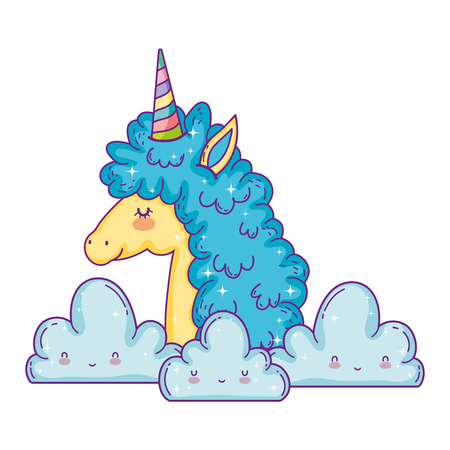 beautiful little unicorn in the clouds vector illustration design Иллюстрация