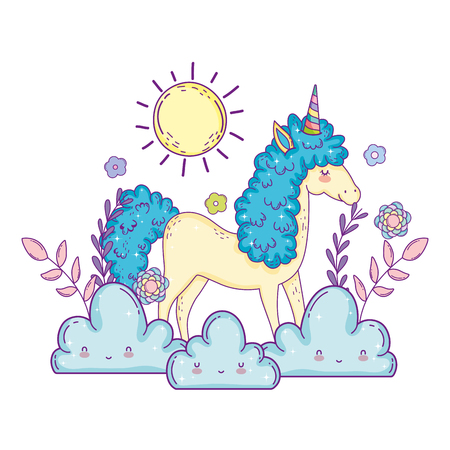 beautiful little unicorn with clouds and sun vector illustration design Banco de Imagens - 124996808