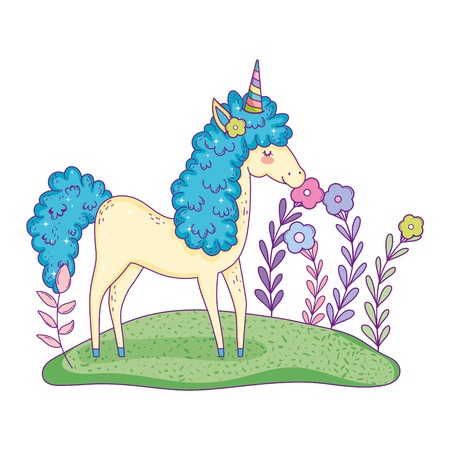 beautiful little unicorn in the landscape vector illustration design