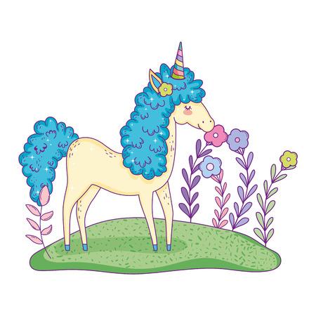 beautiful little unicorn in the landscape vector illustration design Stockfoto - 124996809