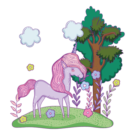 beautiful little unicorn in the landscape vector illustration design Banco de Imagens - 124996811