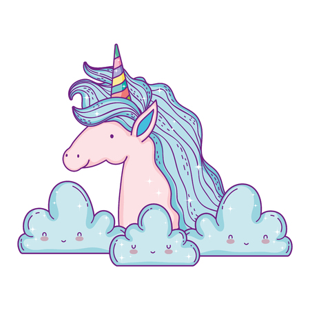 beautiful little unicorn in the clouds vector illustration design Ilustrace
