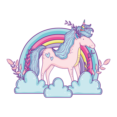 beautiful little unicorn in the clouds and rainbow vector illustration design Banco de Imagens - 124996813