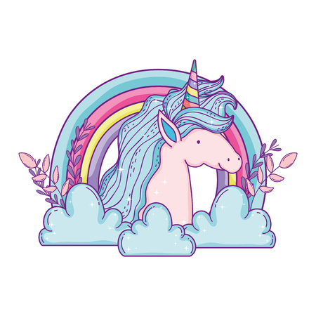 beautiful little unicorn in the clouds and rainbow vector illustration design Stockfoto - 124996815