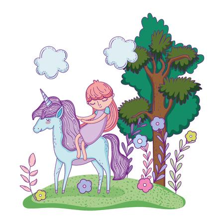 beautiful little unicorn with princess in the landscape vector illustration design Banco de Imagens - 124996817