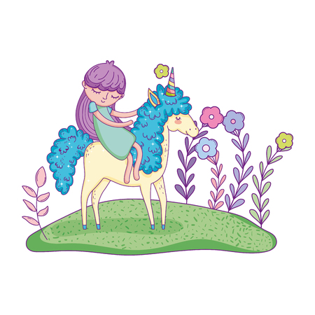 beautiful little unicorn with princess in the landscape vector illustration design