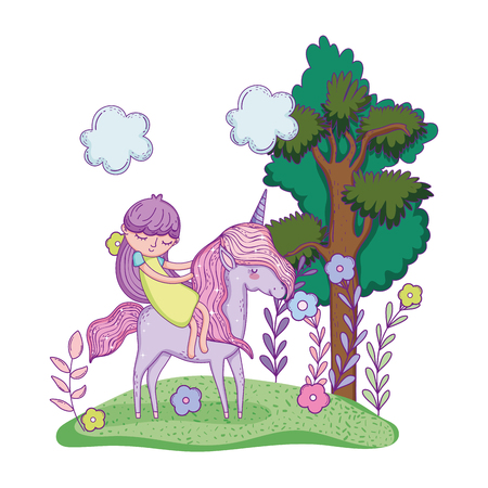 beautiful little unicorn with princess in the landscape vector illustration design Banco de Imagens - 124996822