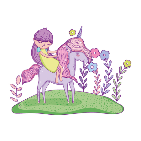 beautiful little unicorn with princess in the landscape vector illustration design Banco de Imagens - 124996823