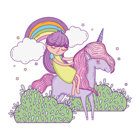 unicorn and princess in the landscape with rainbow vector illustration design