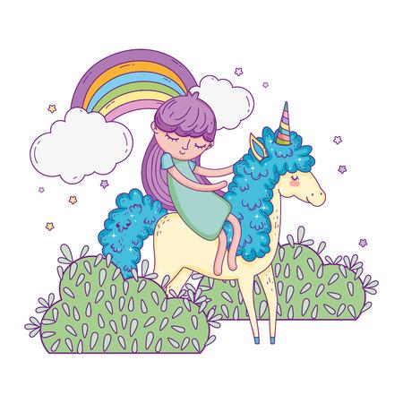 unicorn and princess in the landscape with rainbow vector illustration design Banco de Imagens - 124996825