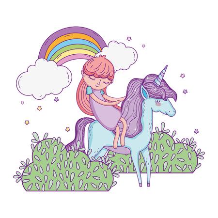 unicorn and princess in the landscape with rainbow vector illustration design Banco de Imagens - 124996827