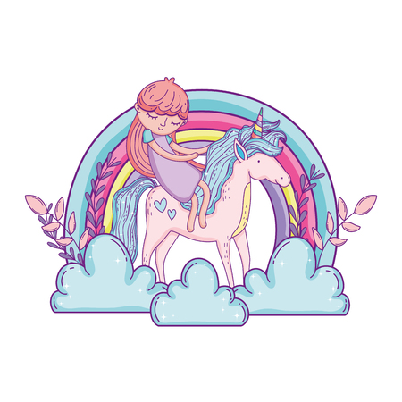 little unicorn and princess in the clouds with rainbow vector illustration design Иллюстрация