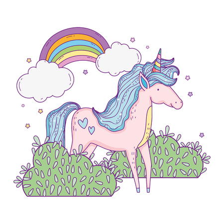beautiful little unicorn with rainbow in the landscape vector illustration design  イラスト・ベクター素材