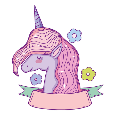 beautiful little unicorn with flowers and ribbon frame vector illustration design