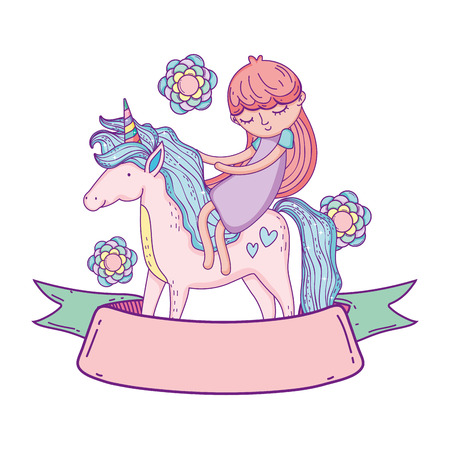 little unicorn and princess with flowers and ribbon vector illustration design