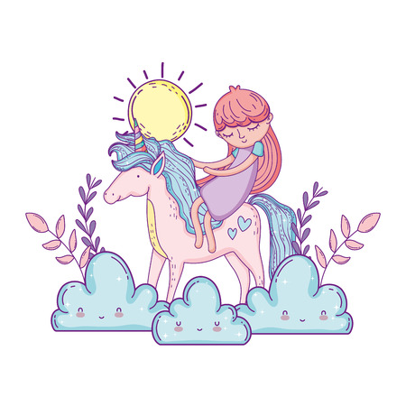 little unicorn and princess in the clouds vector illustration design Illustration