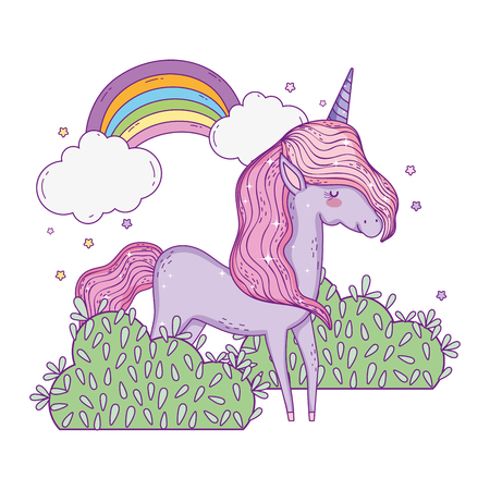 beautiful little unicorn with rainbow in the landscape vector illustration design Иллюстрация