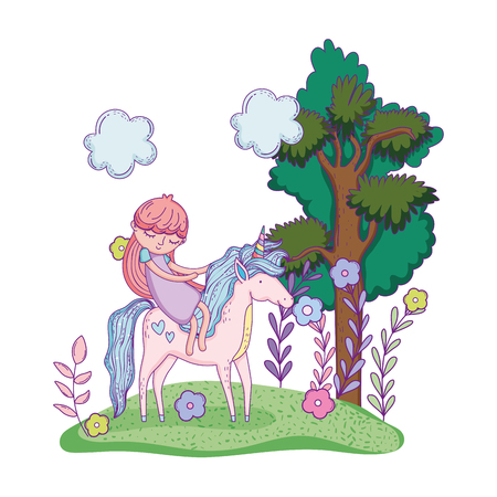 beautiful little unicorn with princess in the landscape vector illustration design Stockfoto - 124996837