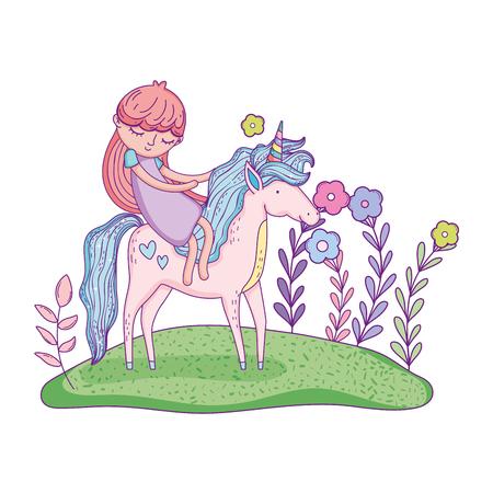 beautiful little unicorn with princess in the landscape vector illustration design Archivio Fotografico - 124996838