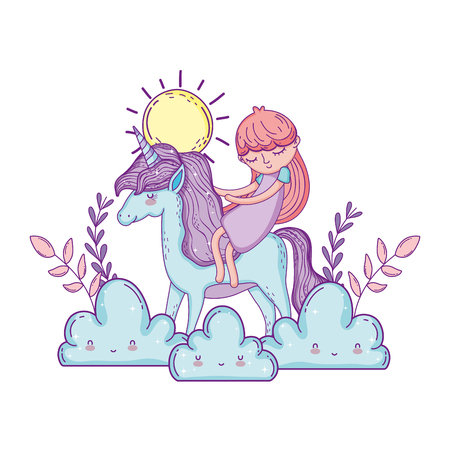 little unicorn and princess in the clouds vector illustration design Иллюстрация