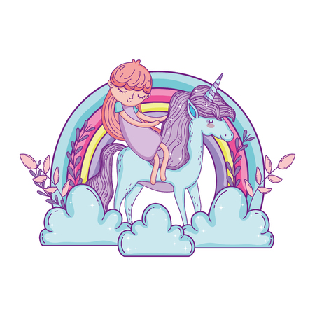 little unicorn and princess in the clouds with rainbow vector illustration design Illustration