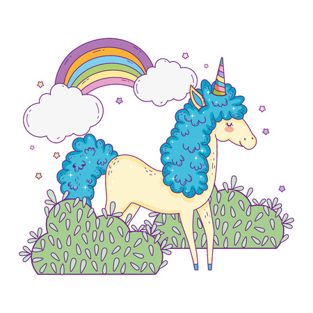 beautiful little unicorn with rainbow in the landscape vector illustration design Banco de Imagens - 124996841