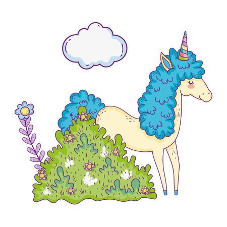 beautiful little unicorn in the landscape vector illustration design
