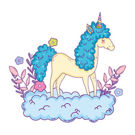 beautiful little unicorn in the clouds vector illustration design Stockfoto - 124996844