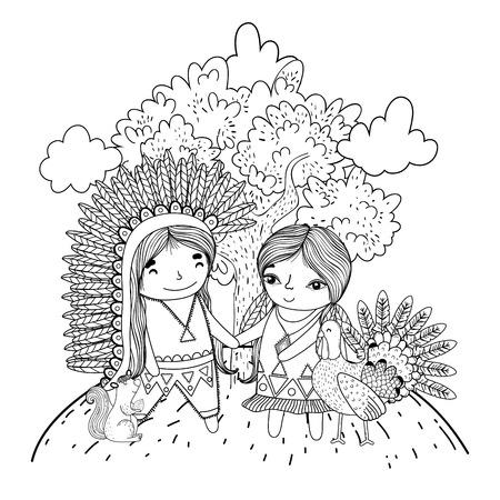 thanksgiving day scene cartoon vector illustration graphic design Banco de Imagens - 124996876
