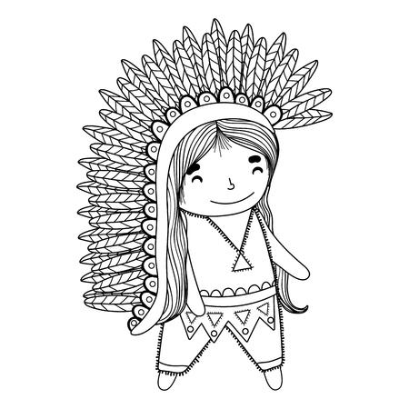 thanksgiving day american indian cartoon vector illustration graphic design Banco de Imagens - 124996877