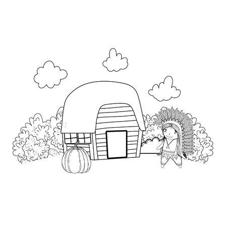thanksgiving day scene cartoon vector illustration graphic design Banco de Imagens - 124996883