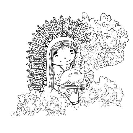 thanksgiving day scene cartoon vector illustration graphic design Banco de Imagens - 124996884