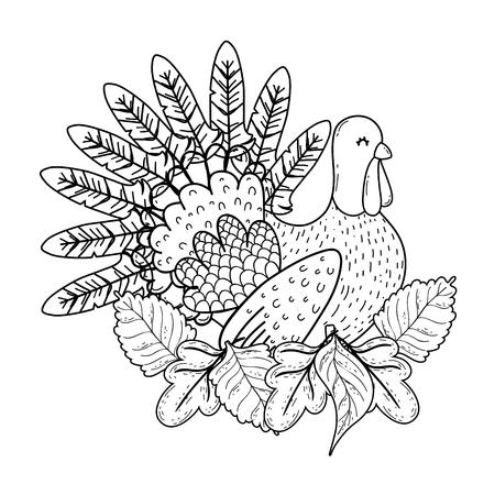 animal turkey cartoon vector illustration graphic design Banco de Imagens - 124996886