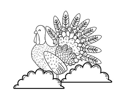 animal turkey cartoon vector illustration graphic design Stockfoto - 124996888