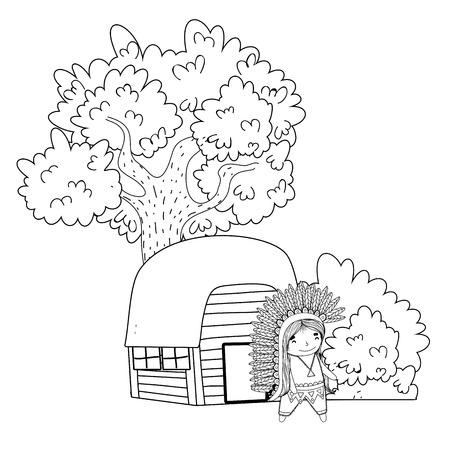 thanksgiving day scene cartoon vector illustration graphic design Banco de Imagens - 124996891