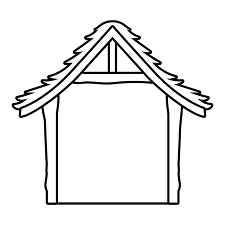 wooden stable cartoon vector illustration graphic design Иллюстрация