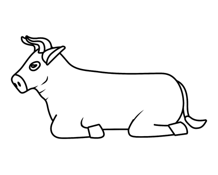 domestic animal bull cartoon vector illustration graphic design