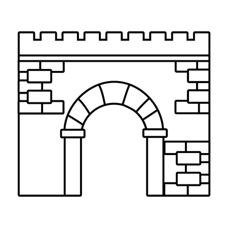 brick wall entrance cartoon vector illustration graphic design