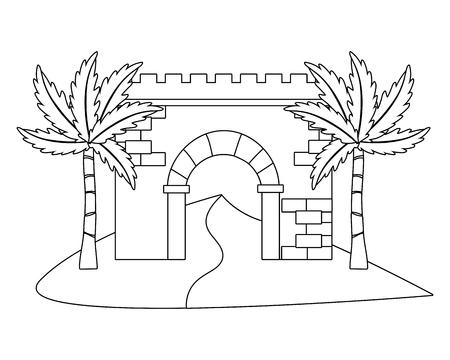 antique brick wall entrance cartoon vector illustration graphic design Illustration