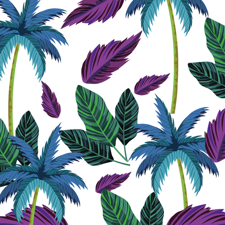 nature leafs and palms seamless pattern cartoon vector illustration graphic design