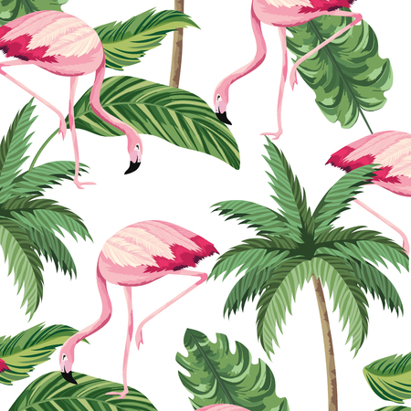 tropical flamingos leafs and palms seamless pattern cartoon vector illustration graphic design