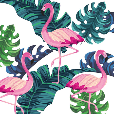 tropical flamingos leafs seamless pattern cartoon vector illustration graphic design