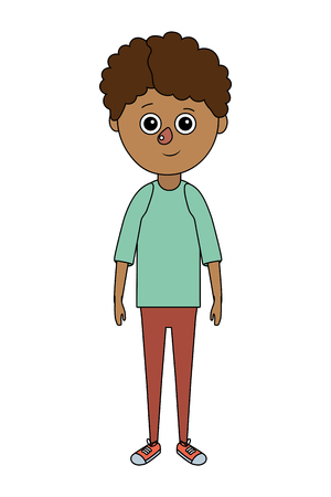 cute boy body cartoon vector illustration graphic design