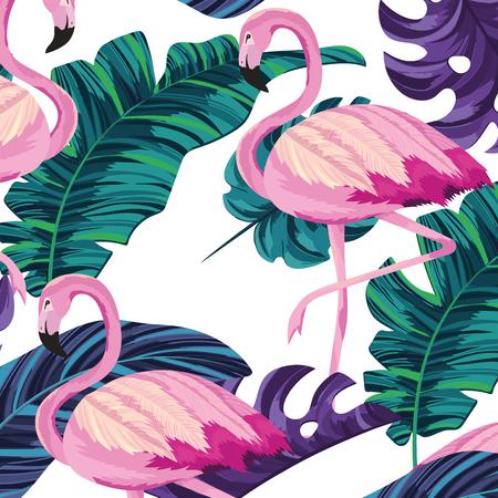 tropical flamingos leafs seamless pattern cartoon vector illustration graphic design