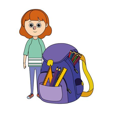 school girl with backpack cartoon vector illustration graphic design Vektorgrafik