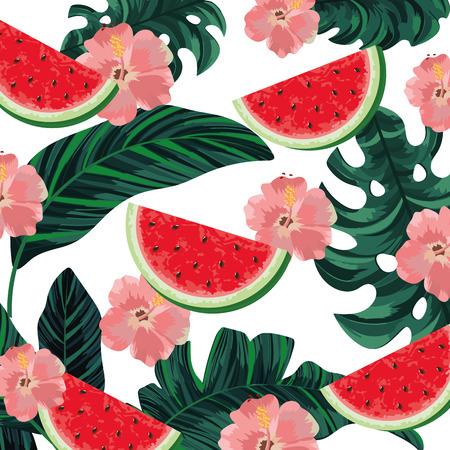 beautiful tropical flowers seamless pattern cartoon vector illustration graphic design