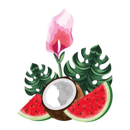 coconut fruit at tropical scene cartoon vector illustration graphic design